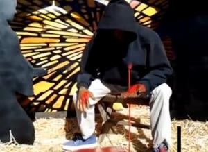 Trayvon Martin depicted in a nativity scene.