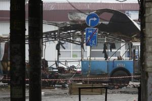 Wreckage of a trolleybus sits in Volgograd, Monday, Dec. 30, 2013.  The blast was probably carried out by bombers from the same organization behind a train explosion a day earlier.