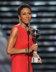 Television host Robin Roberts accepts the Arthur Ashe courage award at the ESPY Awards on Wednesday, July 17, 2013, at Nokia Theater in Los Angeles.