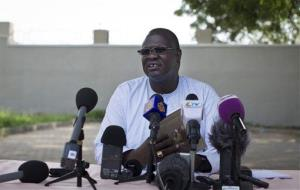 In this photo taken Friday, July 26, 2013, former South Sudan Vice President Riek Machar speaks to the media.