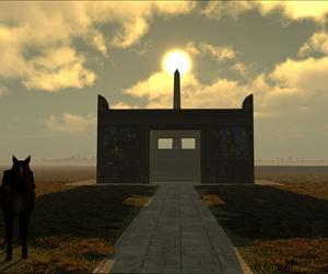 This image from the computer simulation shows the sun lined up behind the obelisk and the Ara Pacis