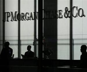 The JPMorgan Chase & Co. logo is displayed at their headquarters in New York, Monday, Oct. 21, 2013.