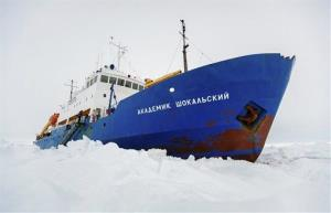 The Russian ship MV Akademik Shokalskiy is trapped in thick Antarctic ice 1,500 nautical miles south of Hobart, Australia.