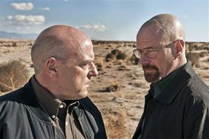 This publicity image released by AMC shows Dean Norris as Hank Schrader, left, and Bryan Cranston as Walter White in Breaking Bad.