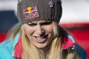Lindsey Vonn of the USA waits  in the finish area during the women's Downhill race of the FIS Alpine Ski World Cup season, in Val d'Isere, France, Saturday, Dec.  21, 2013.