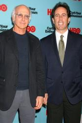 In this photo provided by StarPix, Larry David, left, and Jerry Seinfeld attend a private screening of the new season of the HBO show Curb Your Enthusiasm in New York, Wednesday, Sept. 30, 2009.