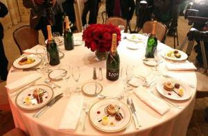 A table setting is displayed during the menu preview for the 70th annual Golden Globe awards at the Beverly Hilton Hotel on Thursday, Jan. 3, 2013, in Beverly Hills, Calif.