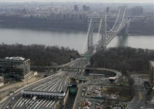 The tollbooth lanes, lower left, lead to the George Washington Bridge in Fort Lee, N.J.