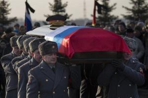 Honor guard officers carry a coffin bearing the body of Mikhail Kalashnikov during his funeral at the Russian Federal memorial military cemetery just outside Moscow, Russia, Friday, Dec. 27, 2013.