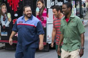 This film publicity image released by Columbia Pictures shows, from left, Kevin James, Adam Sandler and Chris Rock in a scene from Grown Ups 2.