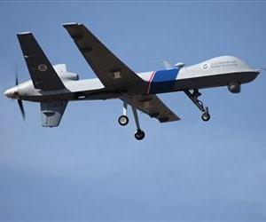 This undated file photo provided by U.S. Customs and Border Protection shows an unmanned drone used to patrol the US-Canadian border.