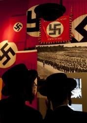 Two ultra Orthodox Jewish men visit the Yad Vashem Holocaust Museum in Jerusalem, Wednesday, April 18, 2012.