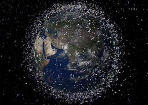 This is a computer-generated image provided by the European Space Agency; it's artist's impression of objects being tracked in Earth's orbit.