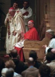 In this Oct. 4, 1996 file photo, Cardinal Joseph Bernardin sits during a Mass at St. Peter's Church in Chicago.