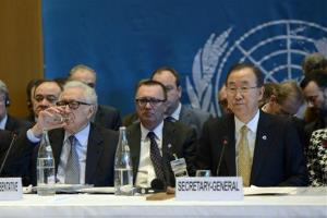 UN-Arab League envoy for Syria Lakhdar Brahimi, left, and UN Secretary General Ban Ki-Moon, right, attend the so-called Geneva II peace talks in Montreux Switzerland.