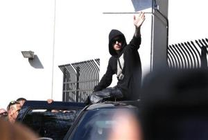 Justin Bieber leaves the Turner Guilford Knight Correctional Center Thursday in Miami.