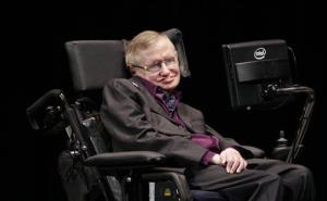 Physicist and best-selling author Stephen Hawking appears, Saturday, June 16, 2012, in Seattle. Hawking was taking part in the Seattle Science Festival Luminaries Series.
