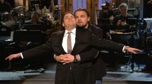 Leo DiCaprio dropped in on Jonah Hill's opening monologue last night on SNL, just in case anyone was feeling nostalgic for Titanic.