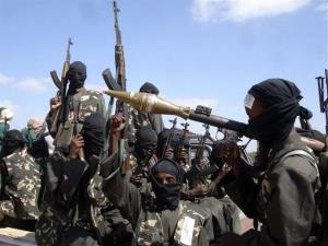 Armed al-Shabab fighters are seen just outside Mogadishu.