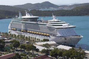 The Royal Caribbean International's Explorer of the Seas is seen docked at Charlotte Amalie Harbor in St. Thomas, US Virgin Islands.