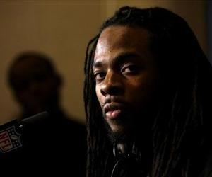 Seattle Seahawks cornerback Richard Sherman speaks during a news conference, Jan. 26, 2014, in Jersey City, NJ.