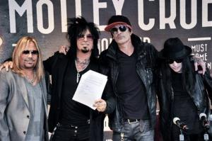 From left, Vince Neil, Nikki Sixx, Tommy Lee, and Mick Mars.