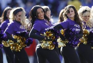 The Baltimore Ravens cheerleaders perform during the first half of an NFL divisional playoff football game against the Houston Texans in Baltimore, Sunday, Jan. 15, 2012.