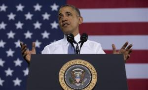 President Barack Obama speaks at General Electric's Waukesha Gas Engines facility, Thursday, Jan. 30, 2014, in Waukesha, Wis.