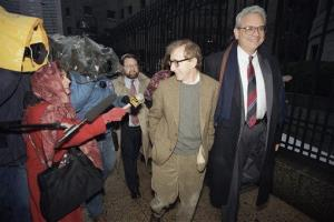 This Jan. 12, 1993 file photo shows Woody Allen arriving at State Supreme Court in Manhattan for a hearing in which he requested more liberal visitation rights with his children in his dispute with Mia Farrow.