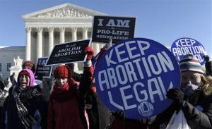 Pro-abortion and anti-abortion protestors rally outside the Supreme Court in Washington last month.
