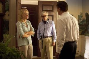 This publicity image released by Sony Pictures Classics shows, actress Cate Blanchett, left, director Woody Allen, center, and Alec Baldwin on the set of Blue Jasmine.