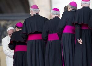 Pope Francis meets bishops at the end of  his weekly general audience, in St. Peter's Square at the Vatican, Wednesday, Feb. 5, 2014.