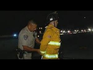 Firefighter Jacob Gregoire was handcuffed and detained after he refused to move his rig.
