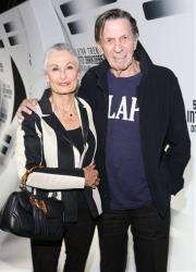 Susan Bay and Leonard Nimoy arrive to the home entertainment launch party  Star Trek Into Darkness last fall.