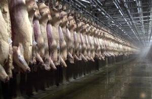 This file photo from June 7, 2000 shows beef sides hanging in a chilling room at the Excel slaughterhouse in Schuyler, Neb.