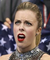 American Ashley Wagner was less than impressed with her results in the women's team short program, Saturday, Feb. 8, 2014, in Sochi, Russia.