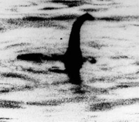 Some people say this shadowy shape is a photo of the Loch Ness monster in Scotland.
