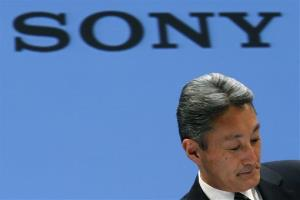 Sony Corp. President and CEO Kazuo Hirai reacts during a press conference at the Sony headquarters in Tokyo Thursday, Feb. 6, 2014.