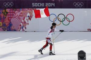 Peru's Roberto Carcelen skis with the Peruvian flag during the men's 15K classical-style cross-country race.