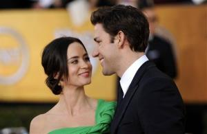 Emily Blunt, left, and John Krasinski arrive at the 18th Annual Screen Actors Guild Awards on Sunday Jan. 29, 2012 in Los Angeles.