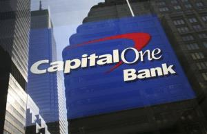 A Capital One bank office window in New York City.