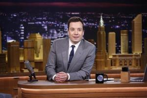 In this photo provided by NBC, Jimmy Fallon appears during his The Tonight Show debut in New York.