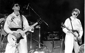 Devo in Atlanta, Ga., on Dec. 27, 1978. Back left: Alan Meyers. Front, left to right: Guitarist Bob Casale and bassist Gerald Casale