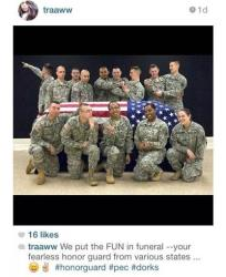 This photo posted to the instagram account belonging to Spc. Terry Harrison shows a dozen soldiers clowning around a casket draped in a flag at a National Guard training facility in Arkansas.