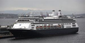 The MS Amsterdam cruise ship, operated by Holland America Line, sits docked Monday, April 26, 2010, in Seattle.