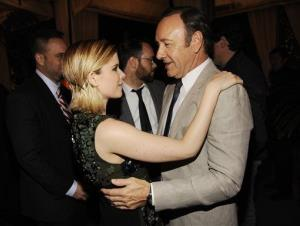 Kate Mara and Kevin Spacey greet each other at a party in L.A. for the second season's debut.