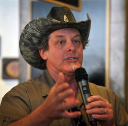 Ted Nugent speaks to a crowd of Greg Abbott supporters during a campaign stop in Wichita Falls, Texas, on Tuesday. Abbott is running for governor.