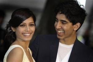 Actors Dev Patel and Freida Pinto in 2009.