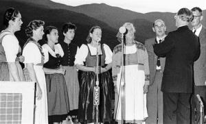 This Aug. 5, 1966, file photo shows the Trapp family in Stowe, Vermont. From left: Mrs. Hugh Campbell, Agatha, Maria, Rosemarie, Hedwig, mother Maria Augusta Trapp, Werner, and Johannes.