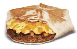 Taco Bell's new Johnsonville sausage and egg wrap, one of the items the fast-food chain will be offering on its new breakfast menu.